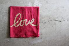 Rosso e oro piatto asciugamano / amore canovaccio / di NestaHome, $16.50