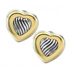 Signed Designer DAVID YURMAN Cable Heart Button Earrings in Sterling Silver…