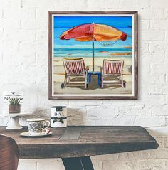 Stylin' By The Sea - Beach Umbrella & Chairs - Danny Phillips art print, UNFRAMED, Recycled Beach Coastal Ocean wall & home decor poster, summer - retirement gift, ALL SIZES. This is a reproduction fine art print of a Danny Phillips' original mixed media painting. This poster comes UNFRAMED and is the perfect gift for the Beach lover. This gift is an ideal addition for your friend who is retiring or a memory of your favorite vacation.