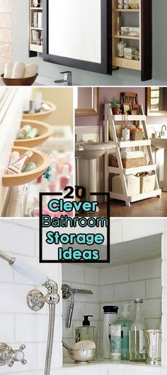 20 Clever Bathroom Storage Ideas Many people have storage issues in their bathroom, whether they have a small or large bathroom. Clever Bathroom Storage, Bathroom Shelves, Bathroom Organization, Kitchen Storage, Large Bathrooms, Amazing Bathrooms, Ideas Baños, Bathroom Renos, Bathroom Ideas