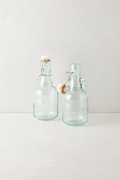 Mini Green Glass Storage Jugs #anthropologie ( homemade herb oils)