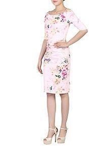Half Sleeve Ruched Wiggle Dress
