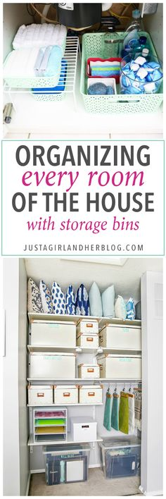How to Organize Every Room of the House with Storage Bins - Just a Girl and Her Blog    This post contains affiliate links. For more informa...