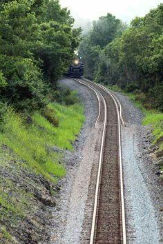 Train on track above Wabash City Park