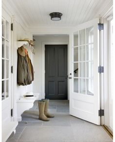 Good idea for coats, shoes, bench - outside the front door once I enclose the porch.
