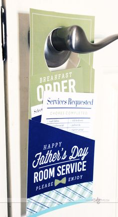 Last-minute gifts for Father's Day: printable breakfast in bed set, including a door hanger for ordering
