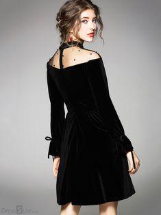 fb4fa4f57e Sexy See-Through Long Sleeve Skater Dress - DressSure.com Concert Dresses