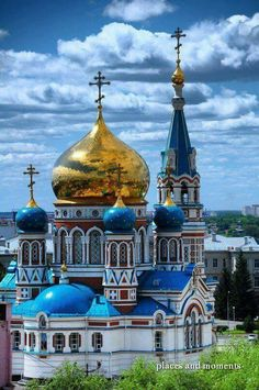 Architecture - Places of Worship - The Dormition Cathedral in Omsk is one of the largest churches in Siberia. Russian Architecture, Church Architecture, Beautiful Architecture, Religious Architecture, Places Around The World, Oh The Places You'll Go, Around The Worlds, Cathedral Church, Old Churches