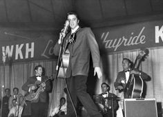 On this day in 1955, Elvis appeared at the Louisiana Hayride broadcast from Shreveport Auditorium in Shreveport, LA and shown on KWKH TV.--April 2nd.