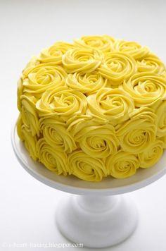 Yellow Birthday Cakes, Yellow Birthday Parties, Birthday Cake With Flowers, 18th Birthday Cake, 25 Birthday, Birthday Ideas, Torte Rose, Rose Cake, Pinterest Cake