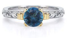 applesofgold.com - 1 Carat Art Deco London Blue Topaz Engagement Ring