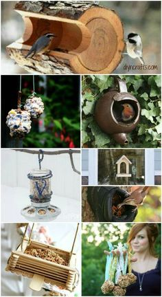 23 DIY Birdfeeders That Will Fill Your Garden With Birds – Page 2 of - I particularly love the log and pinecone ones. Garden Crafts, Garden Projects, Diy Projects, Diy Crafts, Diy Bird Feeder, Outdoor Projects, Yard Art, Bird Houses, Pinecone