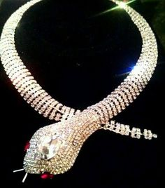 Snake Serpent Crystal Cleopatra Rhinestone  Necklace butler wilson style gothic