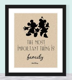 Typographic Print - Walt Disney Quote - Most Important Thing is Family. $12.50, via Etsy.
