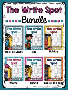 This Write Spot Bundle includes all 6 Write Spot products!  That's over 120 writing prompts to use all year long and each prompt is differentiated to meet the needs of all of your learners.  Click on each link below to see what's included! The Write Spot {Back to School}The Write Spot {Fall}The Write Spot {Holiday}The Write Spot {Winter}The Write Spot {Spring}The Write Spot {End of the Year}This pack was made with DJ Inkers Clipart.