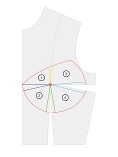 Copa_pecho_patron_tutorial_11 Pattern Making, Pattern Fashion, Diy Clothes, Diy Fashion, Sewing, How To Make, Patterns, Shirtdress, Pattern Sewing