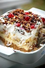 """NO BAKE BANANA SPLIT PIE 2 c. graham cracker crumbs-1/2 c. melted butter-1/4 c. sugar-Mix together and press into 13 x 9"""" dish Chill 1hr.FILLING:2 c. powdered sugar- 2eggs-1t.vanilla-1 c. butter Cream together spread over the crust. Chill 1 hour.-TOPPING:4 - 5bananas, sliced 2-10 oz pkg. frozen berries, drained-1-16oz. can crushed pineapples, drained-1 c. cool whip-1 c. chopped pecans-1-4 oz. jar maraschino cherries, chopped-Layer the toppings over filling as listed. Cut into…"""