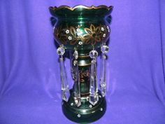 """VINTAGE LG 14"""" FOREST GREEN PAINTED GLASS VASE? W/8 XL ARROW SHAPE GLASS CRYSTAL"""