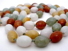 "Stunning Hand Knotted Multi Colored Oval Jade Bead Estate 30.5"" Necklace Vintage"