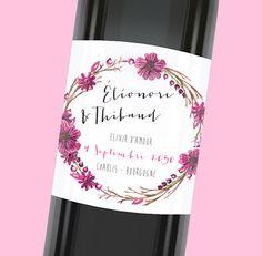 Etiquette de bouteille mariage avec une touche florale qui embellira votre table, réf.N300916
