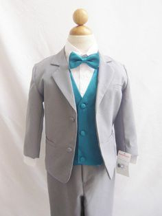 teal ring bearer outfit   wallao.com #ring #Suit #Gray #with #Teal #Vest #Ring #Bearer # ...