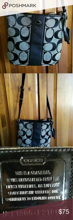 "COACH SIGNATURE STRIPE DUFFLE BAG Great condition , no holes or rips Signature fabric with patent fabric trim  Inside zip, cell phone and multifunction pockets  Zip-top closure, fabric lining  Adjustable strap for shoulder or crossbody wear  10 3/4"" (L) x 10 1/2"" (H)  This is a signature product Coach Bags"