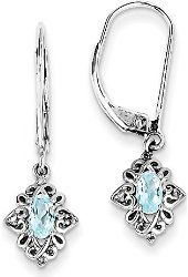 Silver Rhodium-plated Oval Light Blue Topaz Diamond Leverback Dangle Earrings