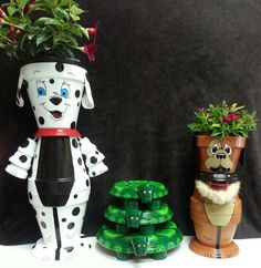 Cute doggies and turtles from clay flower pots