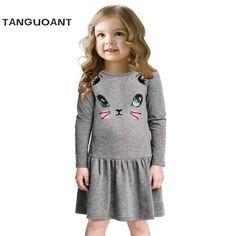 7f5bca0b2c739 Princess Girls Dress 2017 New Fashion summer Cat Print Children Long Sleeve  Cartoon baby girl Cotton Party Dresses for kids - Kid Shop Global - Kids    Baby ...