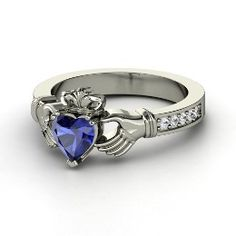 Claddagh Ring, Heart Sapphire Palladium Ring with White Sapphire from Gemvara- WANT IT