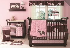Pink elephant baby bed room.