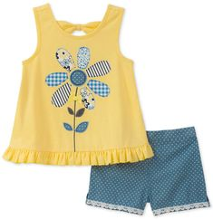 Kids Headquarters Flower Applique Tank Top & Shorts Set, Little Girls - Yellow/Navy 5 Diy Clothes And Shoes, Baby Doll Clothes, Cute Outfits For Kids, Toddler Outfits, Toddler Fashion, Kids Fashion, Kids Nightwear, Kids Headquarters, Girls Pajamas