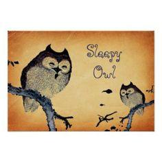 Vintage Sleepy Owl Poster