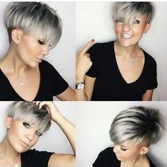 Get this Hairstyle: - Silver Platinum Bowl Cut Undercut Pixie Choppy Pixie Cut, Pixie Cut With Bangs, Blonde Pixie Cuts, Choppy Hair, Short Hair With Layers, Short Pixie, Grey Pixie Hair, Edgy Pixie, Asymmetrical Pixie