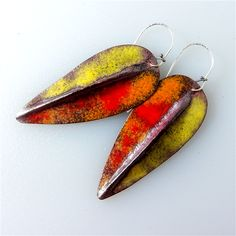 Fold form torch fired enamel copper earrings..   $60