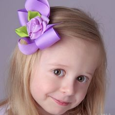 Elegant hair bows | ... hair bow barrette or clip 4224 my sweet little rose girls hair bow
