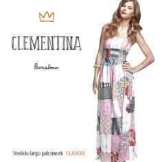 vestido largo patchwork tirantes dress print clementinabcn www.clementina-bcn.com