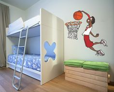 captivating Unisex Kids Bedroom Design With White Bunk Bed and Metal Ladder and Wooden Bench and Basket Ball Wall Decals