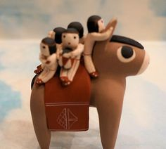 COCHITI PUEBLO POTTERY DONKEY STORYTELLER by VANGIE SUINA 6 CHILDREN