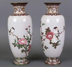 Pr Chinese Cloisonné vases : Lot 109