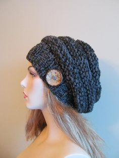 Knitting : Chunky Slouch Beanie Beret Beehive Hat - 3.50 for pattern