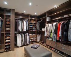 : Astounding Contemporary Master Closet With Brown Color Also Gray Padded Stools Also Small Ceiling Lights With Modern Style Also Soft Color Laminate Floor Also Various Man Shirts And Shoes
