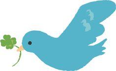 フリーイラスト, ベクトルデータ, EPS, 動物, 鳥類, 青い鳥, 咥える(動物), クローバー(シロツメクサ), 四つ葉のクローバー,