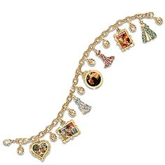 Gone With The Wind Charm Bracelet With 18K Gold-Plating And Swarvoski Crystals