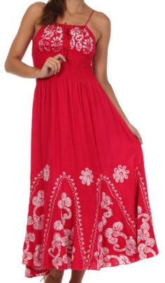 Sakkas Batik Embroidered Empire Waist Dress Red White One Size -- For more information, visit image link. Batik Dress, Red And White, Tie Dye, Turquoise, Empire, Mom, Formal Dresses, Casual, Clothes