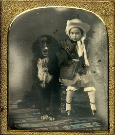 Girl with her large dog 1/6 plate daguerreotype