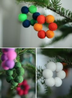 Make minimalistic for the holidays. Starting with this tiny felted ball ornament wreaths!