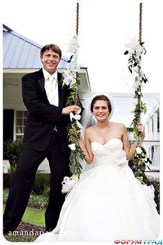 Украшение качель для свадьбы