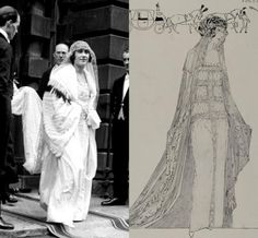 The Queen Mothers wedding dress...Train of Nottingham lace.