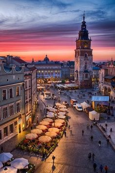 Main Square at sunset - Krakow, Poland